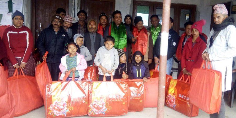 blanket distribute to disability people shivapuri nuwakot thanapati