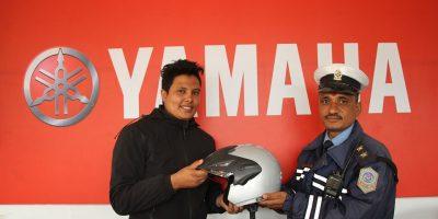 yamaha trishuli auto distribute helmate to traffic