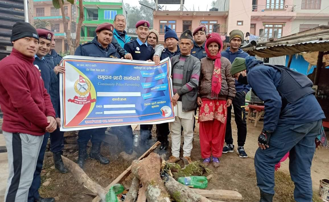 fire camp nepal police winter season nuwakot