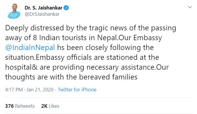 Dr S Jaishankar tweet indian tourist died 2020 nepal