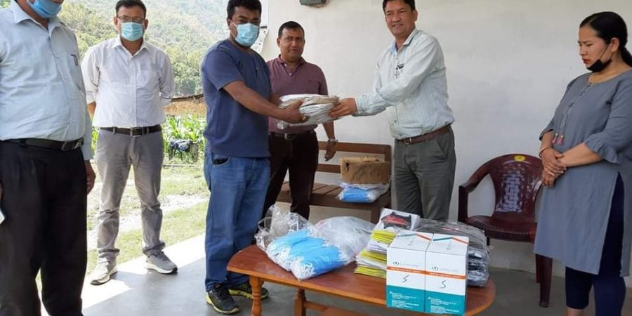 health materials donate purna lal shrestha likhu rural municipality chairman