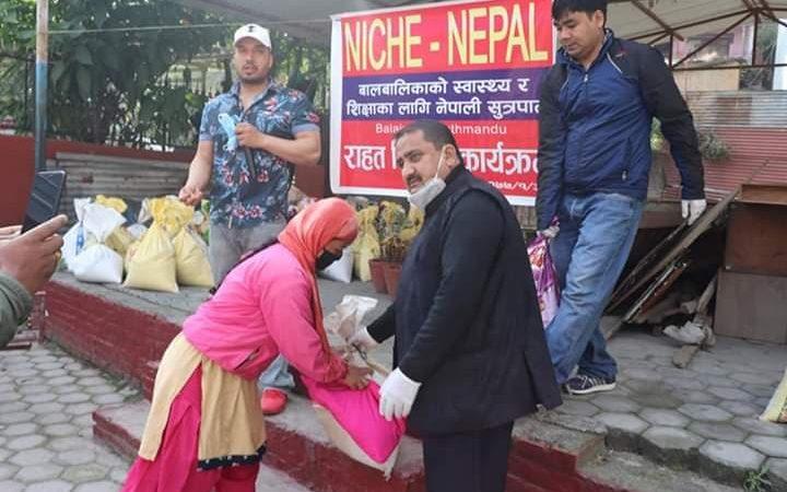 NICHE NEPAL donate food in lock down period