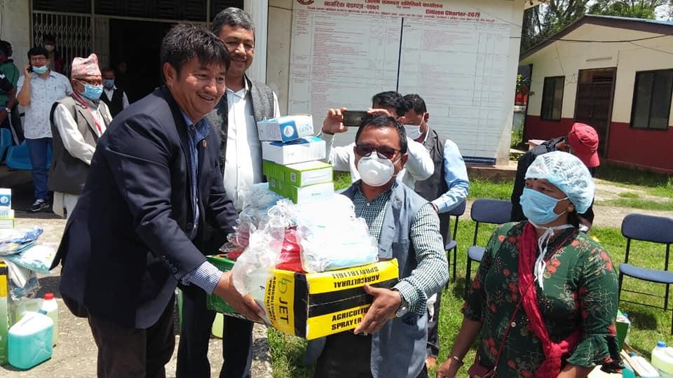 bahadur lama donate coronavirus health safety equipment nuwakot