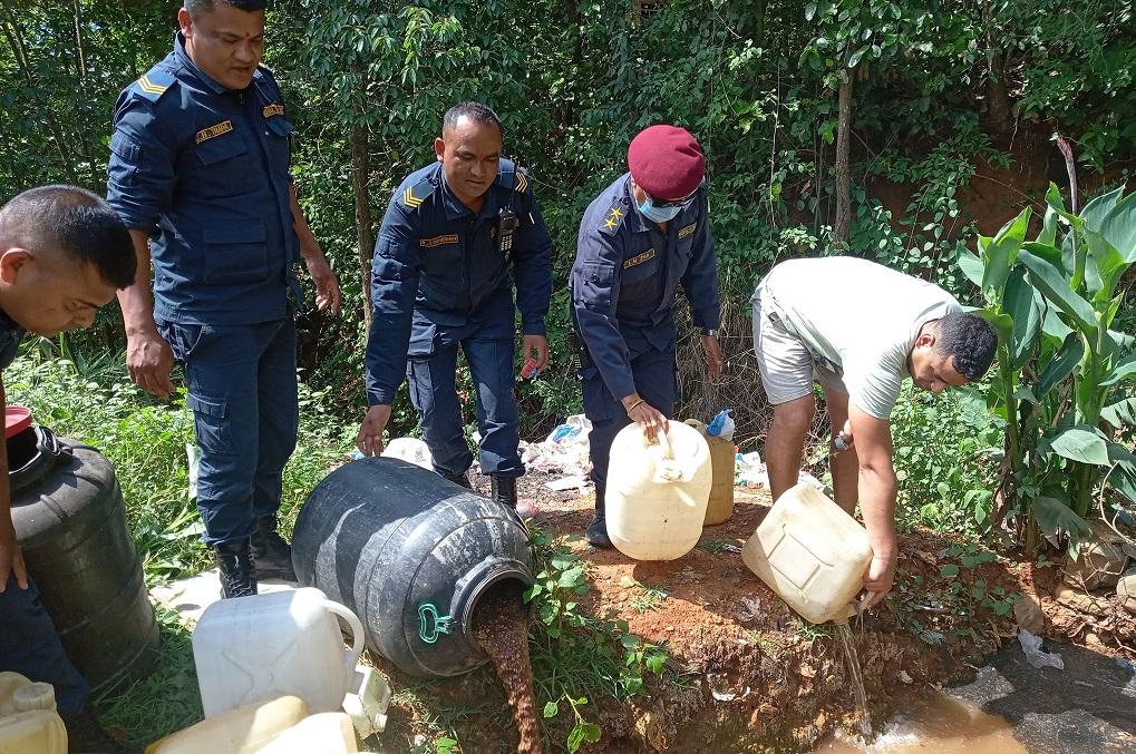 local wine madira dispose in nuwakot police
