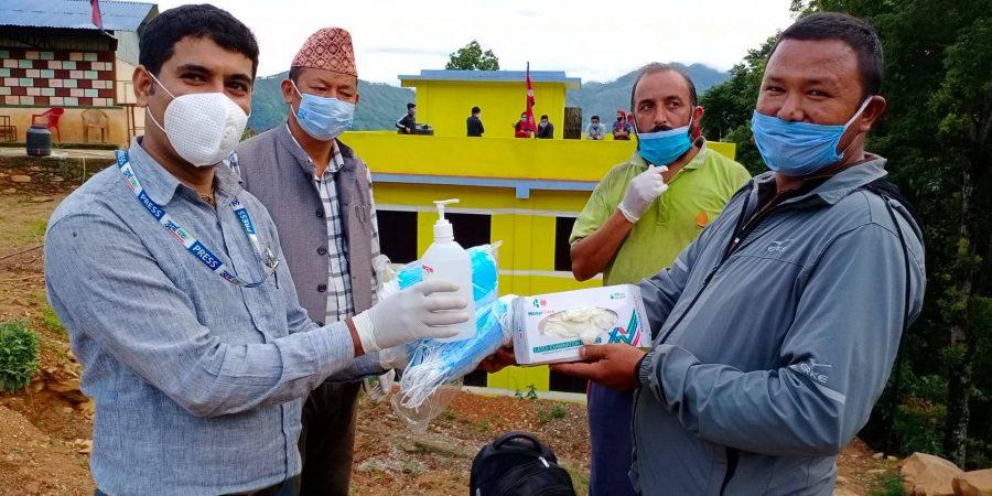 nepal insurance donate mask sanitizer and gloves to tarkeshwor rural municipality quarantine people