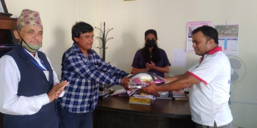 nepal trade union nepali congress nuwakot donate ppe to belkotgadhi health post