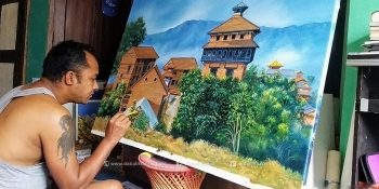 sashi kumar dangol canvas artist rasuwa bagamati nepal